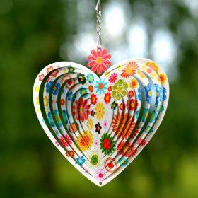 """Heart Flowers Silver """"6"""""""