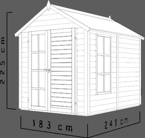 Bertilo 8x6LL19LUX Blockhouse LUX nat dim cm