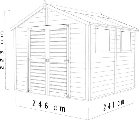 Bertilo 8x8LL19PWNF Blockhouse XL nat dim cm