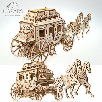 UGEARS Model Stagecoach Mechanical Wooden Model Kit 70045  1