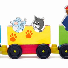 """Puidust rong """"lõbusad loomad rongis"""""""