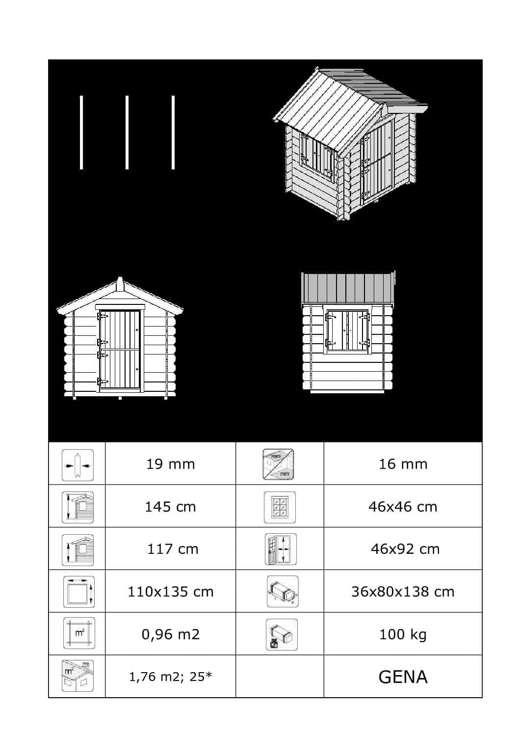 Mängumaja Gena 1.76 m2