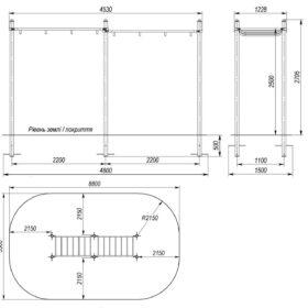 S-833.3 Monkey bar 1,1×4,4×2,5m