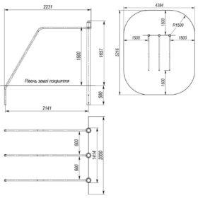 S-834.6 Triple incline parallel bars 0,6х1,1х1,5m