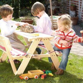 Laste piknikulaud seljatoega