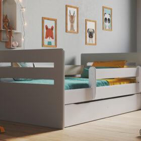 Lastevoodi Tomi voodikastiga – 80×160, hall/valge