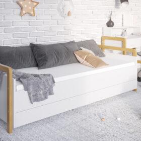 Lastevoodi Victor voodikastiga – 80×180, valge